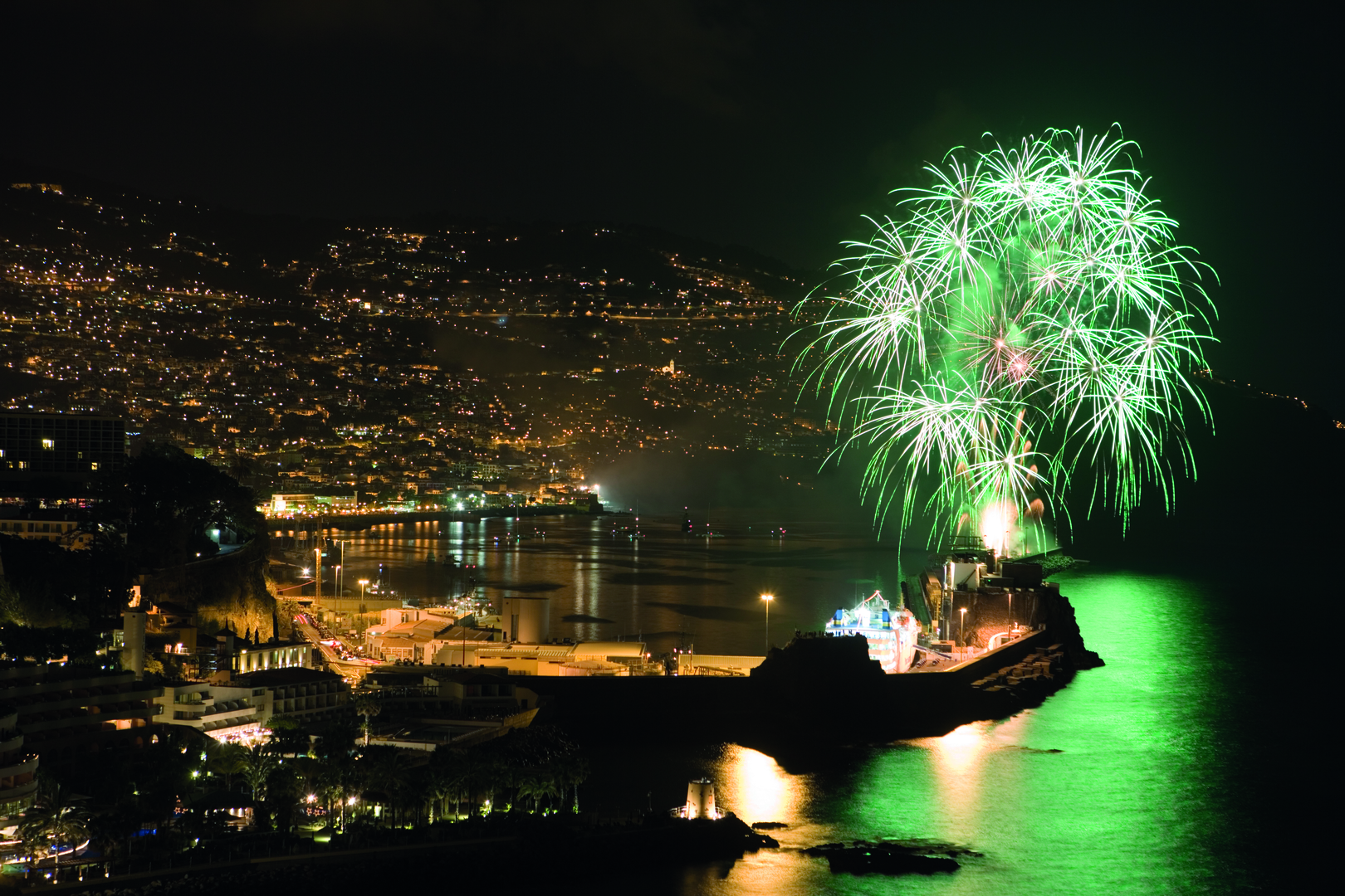 Fireworks seen from Reid's Palace Hotel